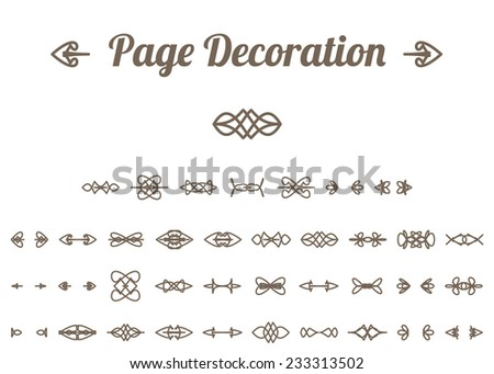 Calligraphic design elements and page decoration. Vector set - stock vector