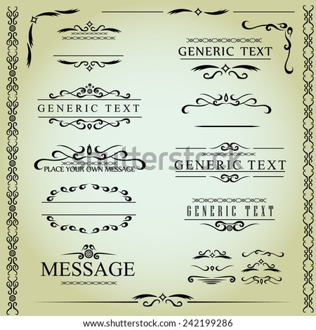 Calligraphic design elements and page decoration - vector set - stock vector