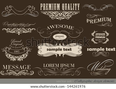 calligraphic design elements and page decoration/ vector set/ Vintage Frame collection