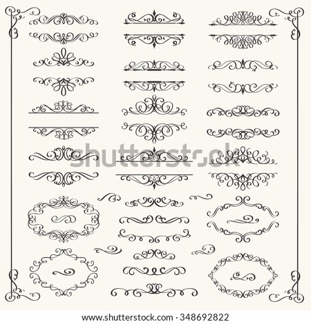 Calligraphic Design Elements . Decorative Swirls,Scrolls  and Dividers. Vintage Vector Illustration. - stock vector