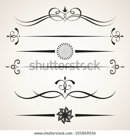 Calligraphic design elements. Elements for page decoration. - stock vector