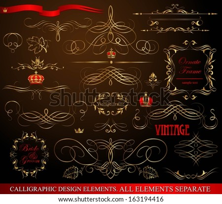Calligraphic design elements gold on black.  - stock vector
