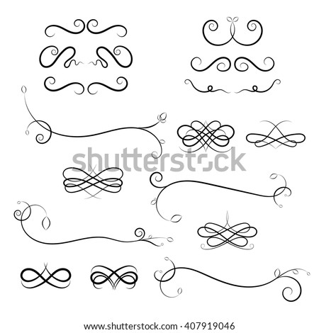 Calligraphic design elements on white background. Vector Calligraphic flourishes and Swashes. Curled Calligraphic flourish, Swash and loops for decoration. Calligraphic design element - stock vector