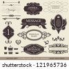 calligraphic design elements, page decoration and labels / vector set - stock photo