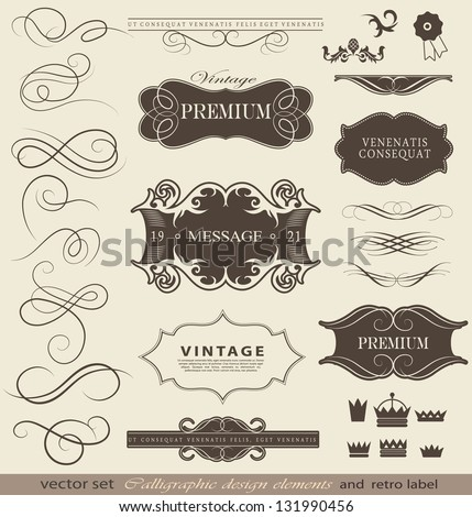 calligraphic design elements, page decoration and labels / vector set