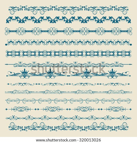 Calligraphic design elements. Set of for design. Border. Design ideas. Page border design. Baroque objects to decorate the pages. Vintage. Vector  - stock vector