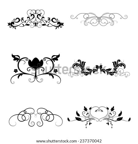 Calligraphic design elements set. Vector illustration. - stock vector