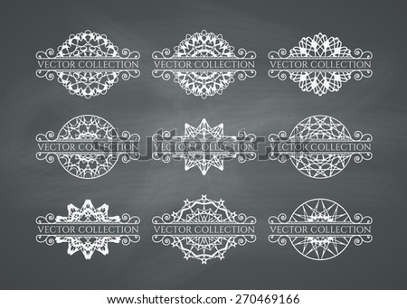 Calligraphic design elements. Vector set of page decorations on chalkboard background - stock vector