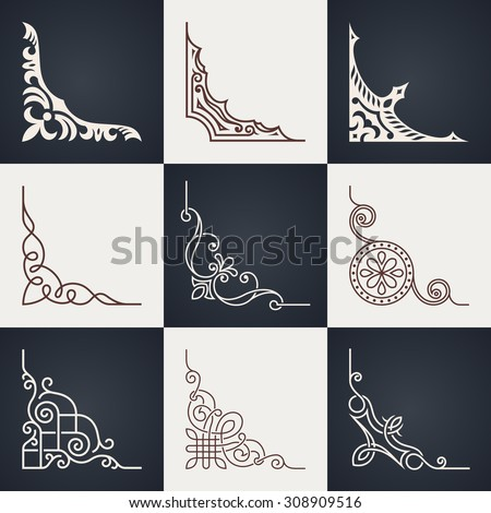 Calligraphic design elements. Vintage corners set. Lines style - stock vector