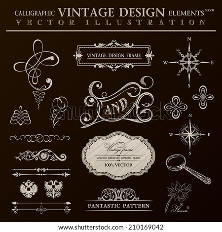 Calligraphic design elements vintage set. Vector ornament frame and royal scroll - stock vector