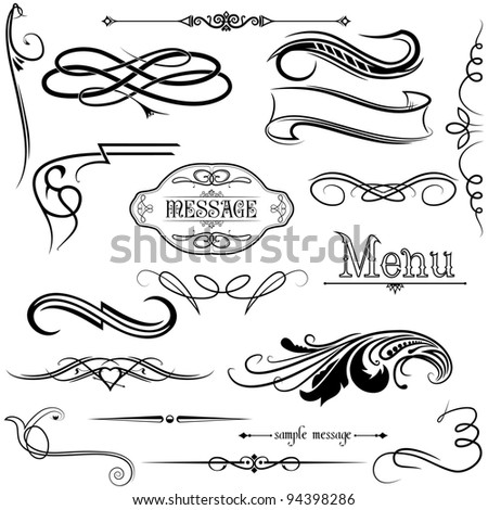 calligraphic elements - stock vector