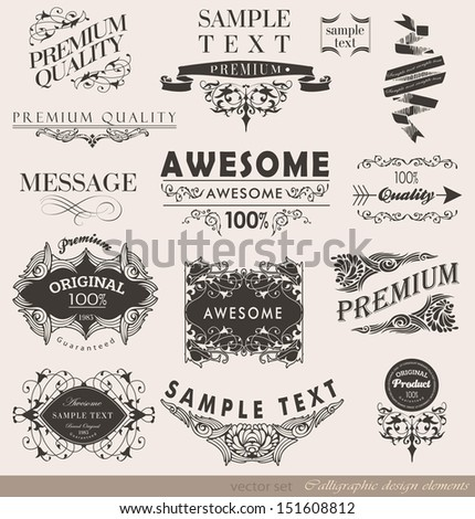 calligraphic elements and page decoration/ vector collection - stock vector