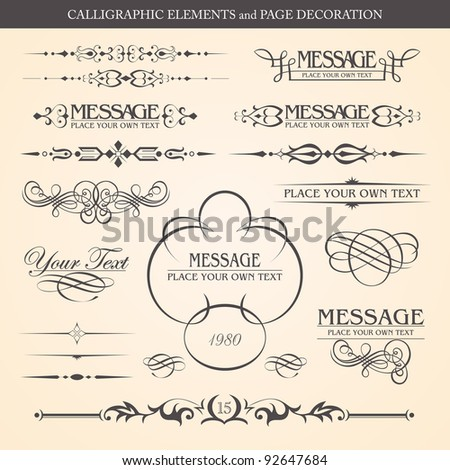 CALLIGRAPHIC ELEMENTS and PAGE DECORATION vector design - stock vector