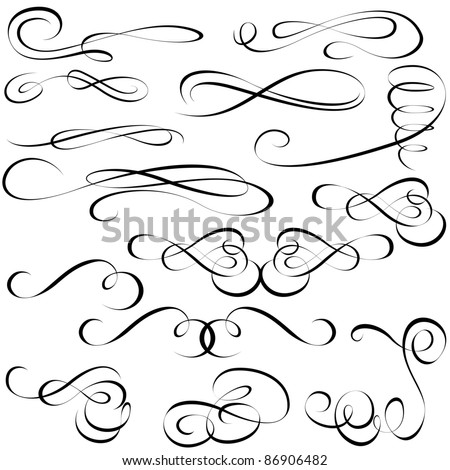 Calligraphic elements - black design elements - stock vector