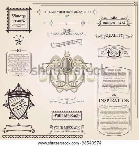 Calligraphic elements vintage set - stock vector