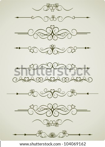 Calligraphic Elements Vintage Set, Old Decor, Vector Version - stock vector