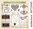 calligraphic elements vintage vector set. Happy valentine day decor - stock vector