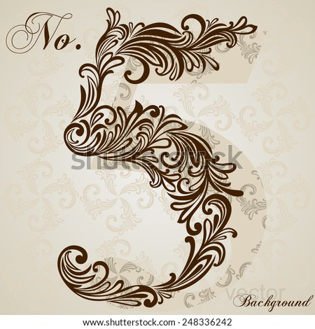 Calligraphic Font. Number five. Vector Design Background. Swirl Style Illustration. - stock vector