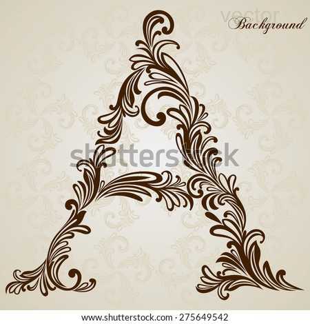 Calligraphic Font. Vintage initials letter A. Vector Design Background. Swirl Style Illustration. - stock vector