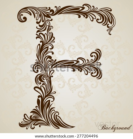 Calligraphic font vintage initials letter f vector design background
