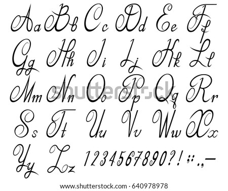 Calligraphic Font With Numbers Alphabet Vector Illustration