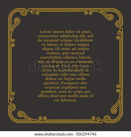 Calligraphic frame and page decoration. Vector vintage illustration background ornament - stock vector