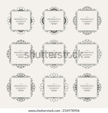 Calligraphic frame design elements. Vector set of page decorations - stock vector