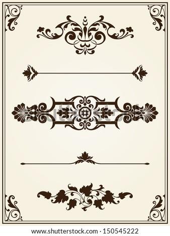 Calligraphic frame design elements white on black - stock vector