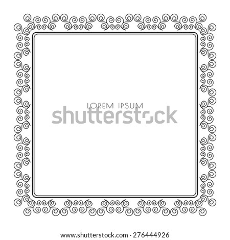 Calligraphic grey frame for border decoration. Design element for your layout. Vector illustration. - stock vector