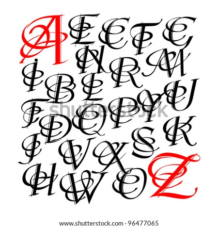 Calligraphy Letters W Calligraphic letters vector
