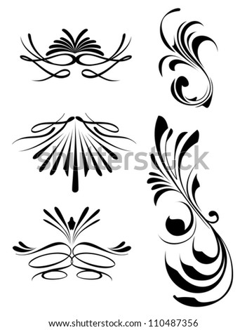 Calligraphic lines dividers and hand drawn design elements - stock vector