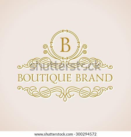 Calligraphic Luxury boutique logo. Emblem ornate decor elements. Vintage vector symbol ornament - stock vector