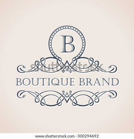 Calligraphic Luxury boutique logo. Emblem ornate decor elements. Vintage vector symbol ornament - stock vector