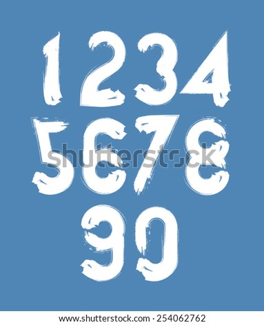 Calligraphic numbers drawn with ink brush, white vector numbers collection. - stock vector