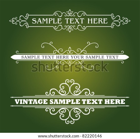 Calligraphic old elements vintage decor, vector - stock vector