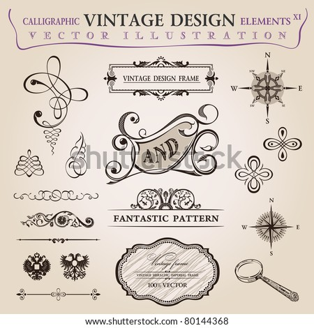 Calligraphic old elements vintage decor. Vector frame ornament - stock vector