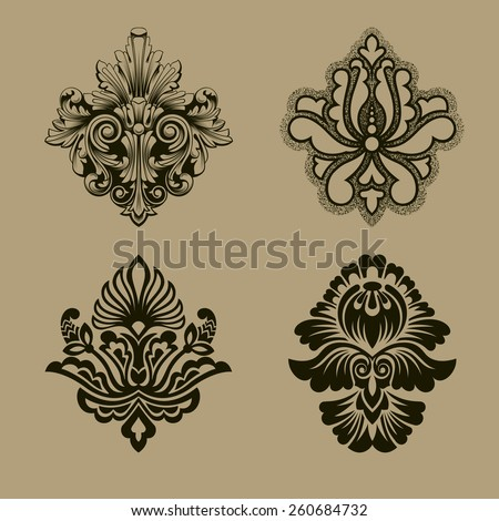 Calligraphic old elements vintage decor, vector, Set of  patterns.