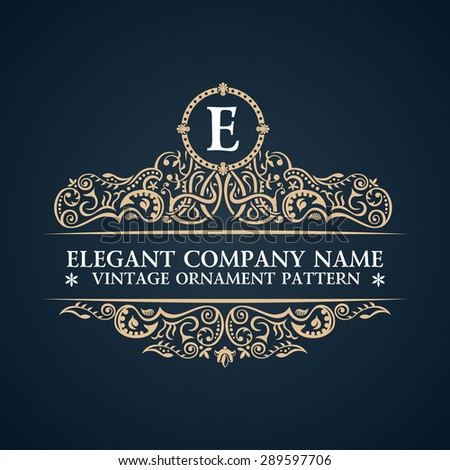 Calligraphic ornate logo. Emblem elegant decor elements. Vintage vector symbol ornament E - stock vector