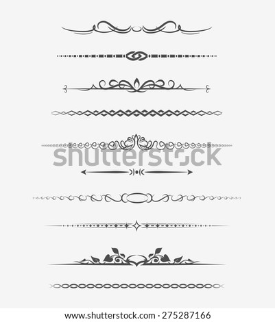 Calligraphic page dividers. Retro decoration, book ornament, chapter and arrow. Vector illustration - stock vector