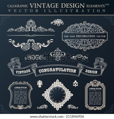 Calligraphic set elements and page decoration. Vector vintage frame ornament - stock vector