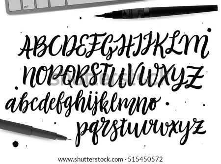 Number Names Worksheets alphabetical cursive : Hand Drawn Abc Set Brush Painted Stock Vector 481641868 - Shutterstock