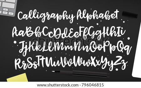 Calligraphic vector script font handwritten brush stock vector