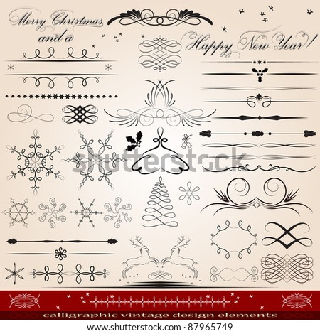 Calligraphic vintage design elements - stock vector