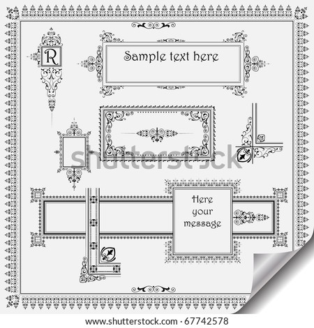 calligraphic vintage design elements and page decoration - lots of useful elements to embellish your layout - stock vector