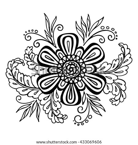 Calligraphic Vintage Pattern, Symbolic Flower and Leafs, Abstract Floral Outline Ornament, Black Contours Isolated on White Background. Vector - stock vector