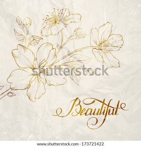 Calligraphy cherry blossom. Beautiful. Vector illustration. - stock vector