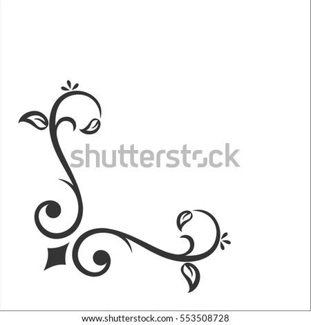 Calligraphy Corner Elements Stock Vector 553508728