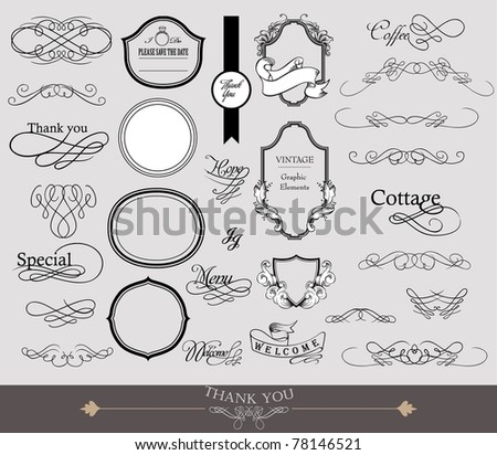 calligraphy elements set - stock vector