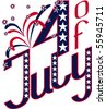 calligraphy for Independence Day- 4 of July with firework and star. Fonts were not used. EPS8 - stock photo