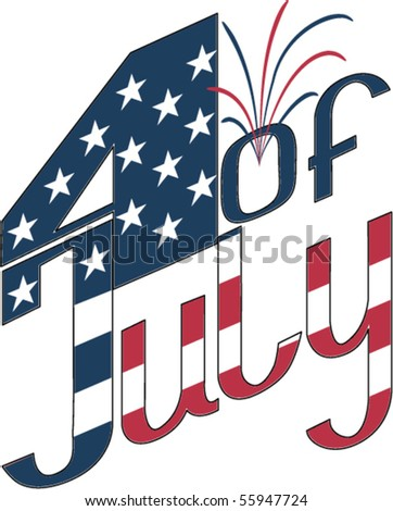 calligraphy for Independence Day- 4 of July with firework and star. Fonts were not used. EPS8 - stock vector